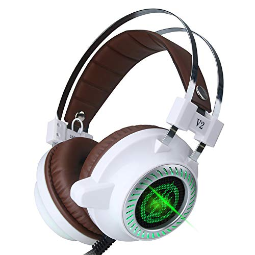 TNXB - Auriculares de diadema para PS4 con luces LED RGB, auriculares con micrófono con cancelación de ruido, luz LED, sonido envolvente, memoria suave para portátil Mac Nintendo Switch