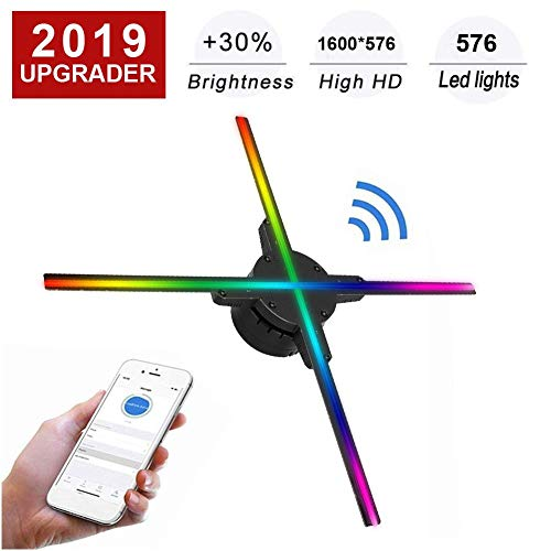 Garsent Holographischer Projektor 3D, tragbarer Hologramm-Spieler 2.4GHZ WiFi LED holografischer Ventilator-Unterstützung 176 ° Betrachtungswinkel der Anzeige-3D mit 16GB TF-Karten-Werbungs(EU)