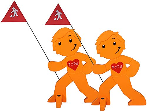 StreetBuddy - Warnfigur, Warnaufsteller, Warnschild für Kindersicherheit 2er Set (Orange)