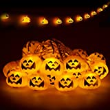 Pumpkin String Lights, Battery Operated String Lights, Halloween Decor String Light, 3M, 20 LEDs, Warm White 3000K, Waterproof IP44, Fairy String Light, 1 Pack (Required AA Batteries)