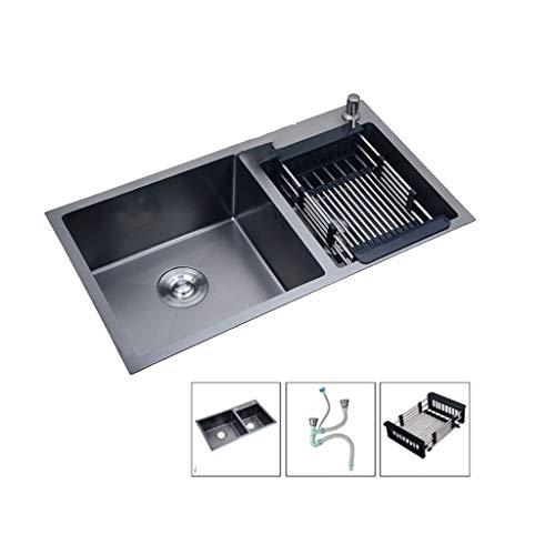 Fregadero de cocina Inserción Acero inoxidable Negro Negro Nano Cuenca Del Bajo Encimera De Acero Inoxidable 60/40 2 Fregadero Sin Tap zysmp1024