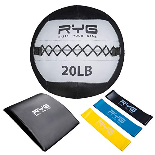 Raise Your Game Wall Ball Core Workout Set with Ab Mat Soft Crossfit Medicine Ball for Muscle Building Core amp Plyometric Training 20lb Ball