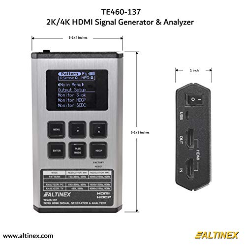 """HDMI 2.0a 18Gbps HDR PRO-HDMI2Gen Battery Powered EDID Testing gofanco Prophecy Video Testing Gear for WFH 4K 60HZ 4:4:4 HDMI 2.0 Pattern Generator /& Analyzer 4.3/"""" Touch Panel HDCP 2.2"""