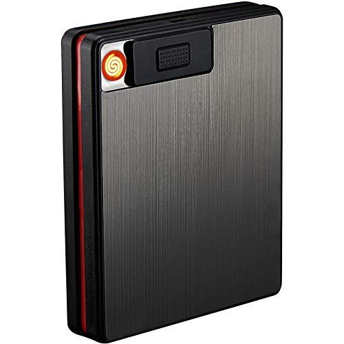 Auslese PC Plastic 2 in 1 King Size Portable Pack 20pcs Cigarette Case with USB Rechargeable Flameless Windproof Electric Lighter - Multicolour