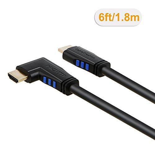 HDMI Kabel, CableCreation 6 Ft Links Winkel 90 Grad vertikal Links 4K HDMI 2.0 Kabel, Unterstützung 4K Ultra HD, 3D-Video, Ethernet, Audio Return Channel, schwarz /1.8m