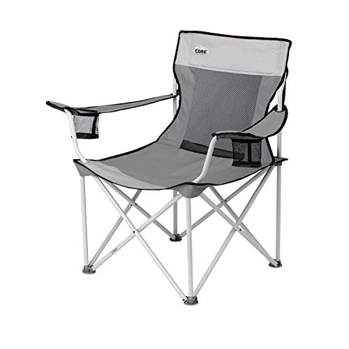 CORE Portable Folding Padded Mesh Quad Chair with Carry Bag