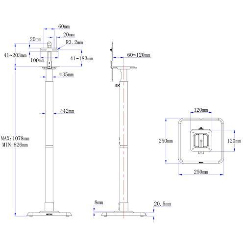 Eono by Amazon - Pieds d'Enceintes, pour Enceintes Satellites et Haut-parleurs Hi-FI/Home Cinema, Paire de Pieds d'Enceintes avec Gestion des Câbles Intégrée pour JBL Bose Polk Sony Yamaha