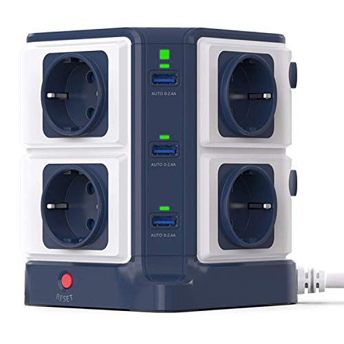 BESTEK Multipresa Ciabatta Elettrica Verticale a 8 Prese Schuko (a due spine) e 6 Porte USB con Interruttore Indipendente, 1500J Surge Protezione 【Versione aggiornata】
