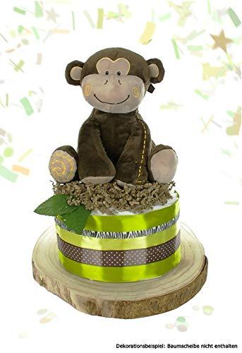 dubistda© Windeltorte neutral SAFARI für Baby Jungen und Mädchen + große Affen Spieluhr | Geschenk zur Geburt Babyparty Babyshower (grün)