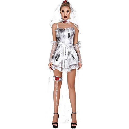 Vestido de Mujer Cospaly Disfraz de Halloween Cospaly Carnaval Fantasma Novia Capa...