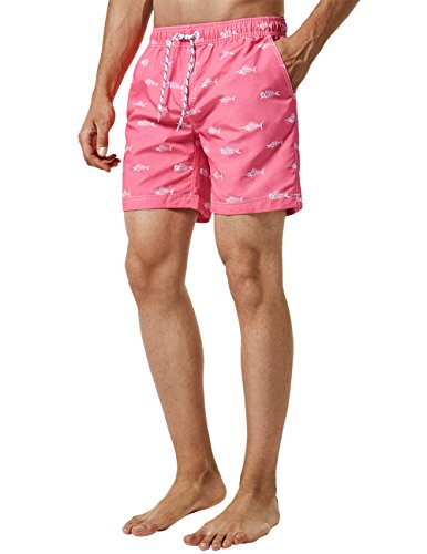 MaaMgic Mens Quick Dry Short Swim Trunks With Mesh Lining Swimwear Bathing Suits,New-g5-ms092-Pink Fishbone,Large