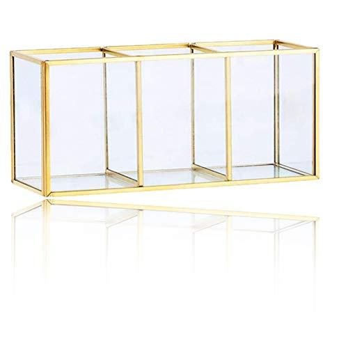 Glas Make-up Organizer Transparenter mit Perlen, Dekoratives Tablett, Luxus Kosmetika Aufbewahrungsbox Behälter mit 3 Fächern Für Schminktisch Badezimmer Make-up-Pinsel
