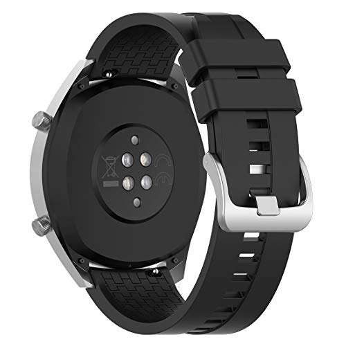 Disscool Correas de repuesto para Huawei Watch GT 2 Smartwatch, correa de silicona suave para Huawei Watch GT 2/1/Active/Honor Watch Magic/Dream(silicona negra)