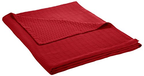 Superior 100% Cotton Thermal Blanket, Soft and Breathable Cotton for All Seasons, Bed Blanket and Oversized Throw Blanket with Luxurious Diamond Weave - King Size, Burgundy