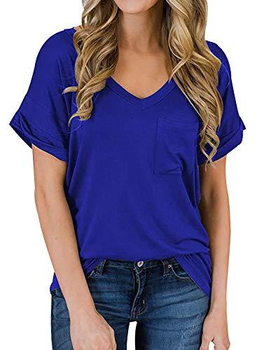 Camiseta Escote V Mujer Leopardo Bolsillos Oversize Talla Grande Camisetas Basicas Lisas Mujer Manga Corta Camisas Mujer Camisetas Anchas Largas de Mujer Tops Camisa Larga Mujer Casual Suelta Azul S