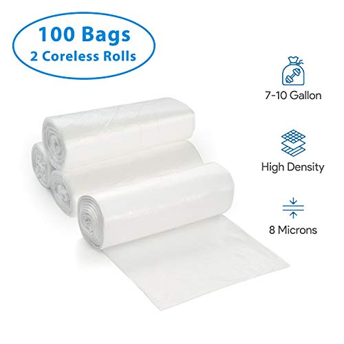 7-10 Gallon Clear Garbage Can Liners, 100 Count - Small - Medium Trash Can Liners - High Density, Thin, Lightweight, 8 Microns - For Office, Home, Hospital Wastebaskets - 2 Coreless Rolls