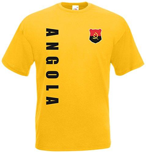 Angola T-Shirt Trikot Wunschname Wunschnummer (Gelb, XXL)