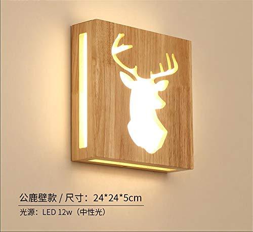 Applique Murale Appliques Murales Interieur Led Lampe Murale En Bois Massif Chambre Lampe De Chevet Salon Créatif Allée Escalier Lumière