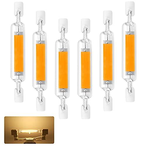 Bombillas LED R7S de 78 mm, 6 piezas Lámpara COB Hightlight de 10 W AC220-240V luces LED de 800LM, luz blanca cálida 3200K, luz de 360 grados, adecuada para pasillos y apliques de pared no regulable