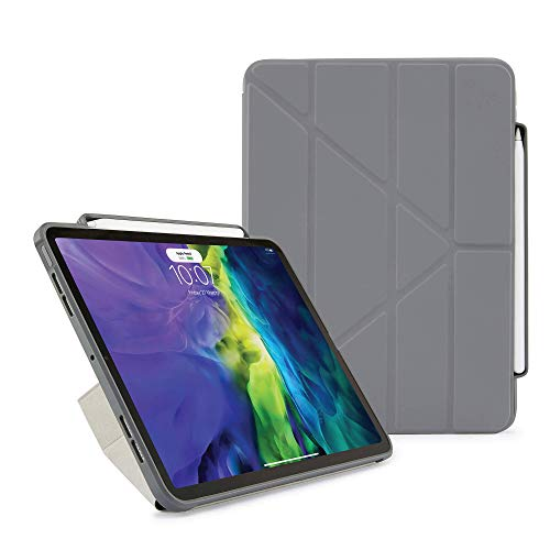 Pipetto Origami Pencil iPad Case Pro 11 (2020) 2nd Generation | Shockproof TPU Bumper with 5-in-1 stand | Apple Pencil 2 sync and charge compatible - Dark Grey