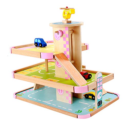 Koyae Parking Garage, 3 Storey Wooden Car Park with Working Lift, Gas station, Car and Helicopter, Parking Lot Pretend Toys for 3 year old Kids