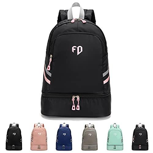 FEDUAN Sport-Rucksack Sporttasche mit Schuhfach und Nassfach Damen Herren Teenager Backpack für Fitness Gym Outdoor Camping Schule Schwimmbad Fahrrad-Rucksack Mädchen Junge Kinder schwarz-pink