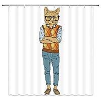 ファッションの流行に敏感なように着飾った漫画猫浴室の窓の装飾のための生地のホックが付いているポリエステル防水シャワー・カーテン60X72in