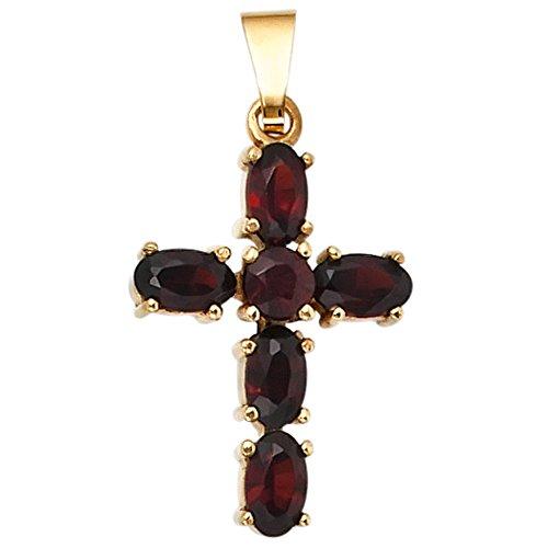 Granatschmuck Anhänger Granat rot Anhänger Kreuz 375 Gold Gelbgold 6 Granate