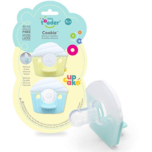 Little Toader Cupcake Baby Pacifier (Round Nipple - Solid Medical/Hospital Grade Silicone Pacifiers) 3+ Month Cupcake (Aqua and Yellow)