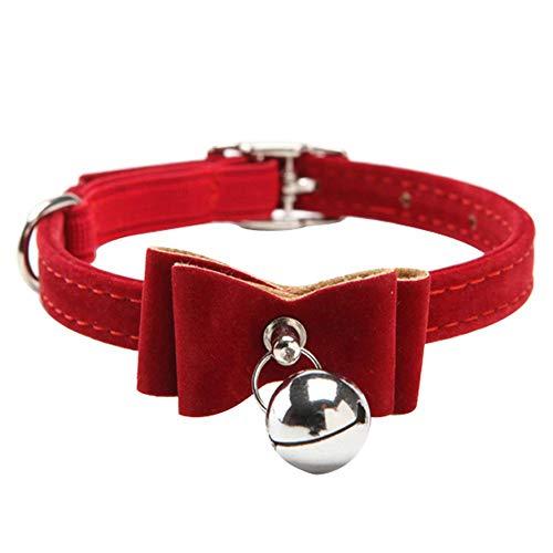 houzhi - Collar para mascota con lazo y cascabel para gato, ajustable, de terciopelo, con lazo, elástico, color rojo