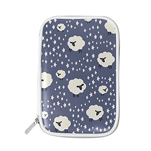 HaJie - Bolsa para lápices con diseño de ovejas con cremallera de animales para la escuela, gran capacidad para brochas y brochas