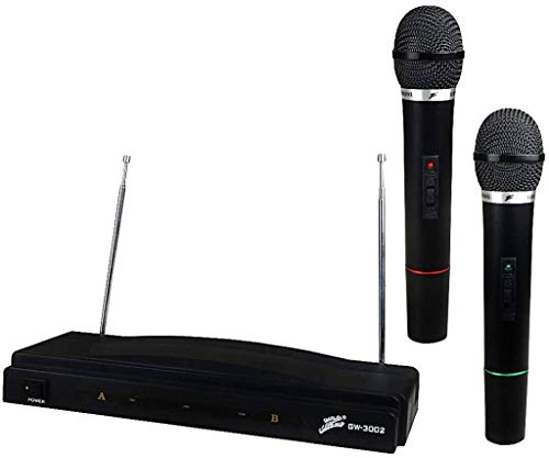 Dual Channel Wireless VHF Handheld Professional Microphone System You Can Move Without Restriction Karaoke Parties Church Public Speaking Long Distance Up to 150ft 16 Hours Continuous Built to Last