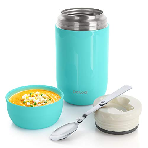 DaCool Insulated Lunch Container Hot Food Jar 24 oz Stainless Steel Vacuum Bento Lunch Box for Adult with Spoon Leak Proof Hot Food Insulated Container for Office Picnic Travel Outdoors, Cyan Blue