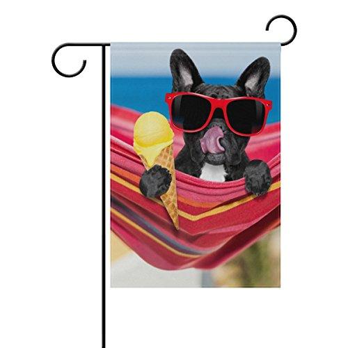 Vantaso Garden Flag Decorative French Bulldog On Ocean Beach Eating Ice Cream Polyester Double Sided Printing Fade Proof for Outdoor Courtyards Garden 12x18 inch