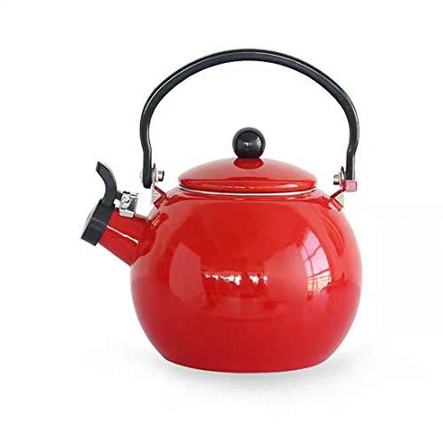 SLHP Hervidor Japonés Silbato Rojo Tetera de Esmalte Cocina de Inducción Gas Universal Tetera de Porcelana Japonesa Whistle Tetera (Rojo)