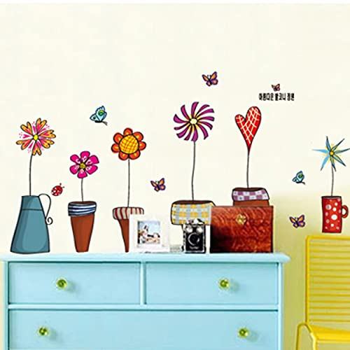 Bonsai Topf Schmetterling Blumenpflanzen Wandaufkleber Wohnzimmer Küche Fenster Home Decor Dekorative Home Decor Decal