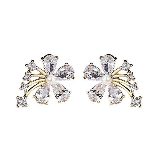 Pendientes de oreja, pendientes de mujer, circonita cúbica con incrustaciones de flores de imitación y perlas de imitación, regalo de joyería - oro amarillo
