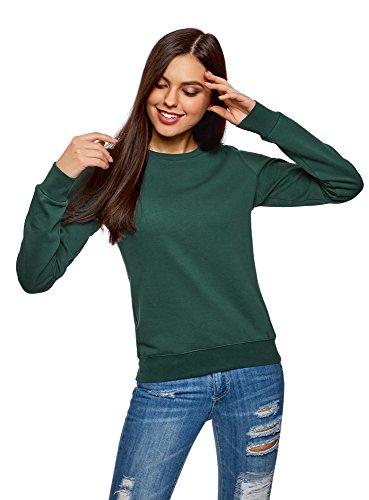 oodji Ultra Damen Baumwoll-Sweatshirt Basic, Grün, DE 32 / EU 34 / XXS