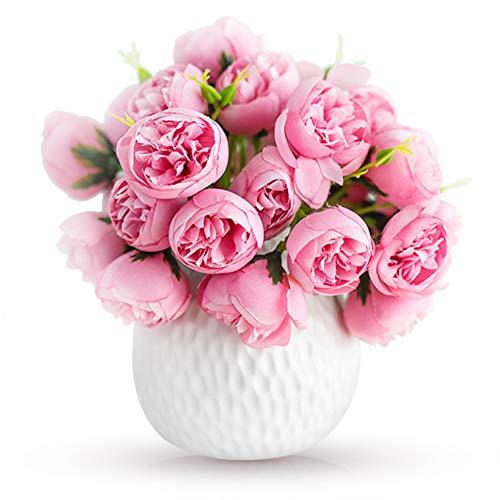 Keleily Künstliche Blumen Pfingstrosen Rosenrot Kunstblumen mit Vase Klein Kunstblumen Deko Vase Blumenstrauß Künstlich für Hochzeit, Blumenstrauß, Hotel, Restaurant, Büro, Wohnzimmer, Schlafzimmer