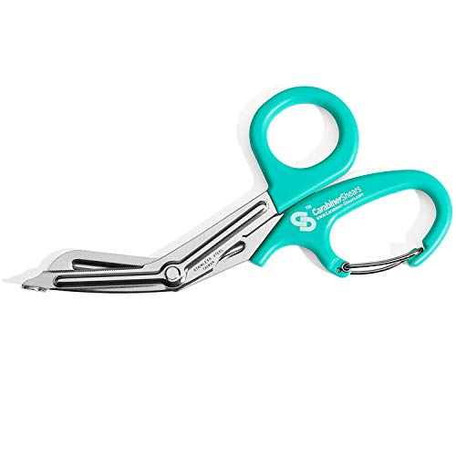 Trauma Shears with Carabiner - Stainless Steel Bandage Scissors for Surgical, EMT, EMS, Medical, Nursing, and Veterinary Use, First Aid Supplies and Accessories, 7.5-inch, Light Blue (Teal)
