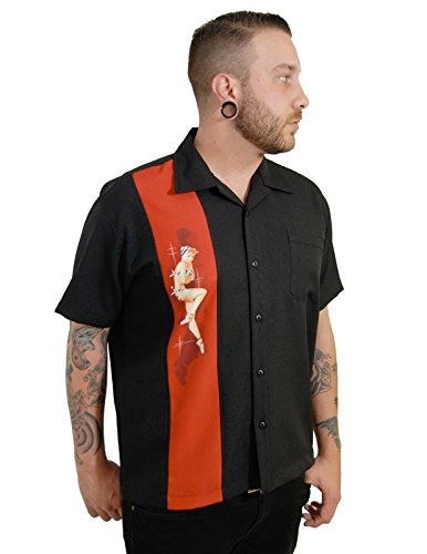 Rock Steady Black Pinup Girl Bowling Camp Lounge Shirt Retro 50er 50er Jahre One Panel - Schwarz - Mittel