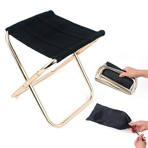 Portátil Taburete plegable portátil de aleación de aluminio ultraligero, silla de camping de pesca plegable, asiento de playa de picnic bbq, bolsa de almacenamiento Para actividades al aire libre