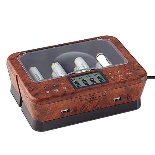 Cargador de pilas recargables AA/LR6, AAA/LR3, C/LR14, D/LR20, 9 V, NiCd y NiMh + alcalinas – Pantalla LCD – Indicador de carga – Cargador universal 4 pilas + 2 puertos USB – Lupa de Orme – Madera