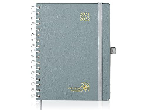 Agenda 2021 2022 Semainier env. A5 - Agenda Scolaire 2021 2022 Spirale (Août 2021 - Août 2022) avec Couverture Rigide, Pages Notes et dadresses, 22 x 16,5 cm, Gris