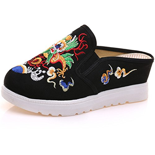 Qhome Women's Canvas Chinese Dragon Embroidery Comfortable Casual Mules House Slippers Shoes Black