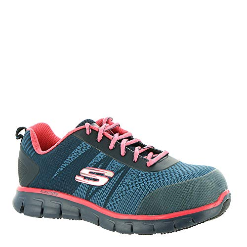 Skechers Work Sure Track Saquenay Alloy Toe Womens Sneakers Navy/Pink 10