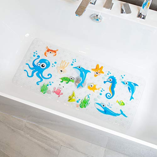 BeeHomee Cartoon Non Slip Bathtub Mat for Kids - 35x16 Inch XL Large Size Anti Slip Shower Mats for for Toddlers Children Baby Floor Tub Mats (Blue Ocean)