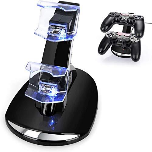 Cargador para Controles de PS4 PlayStation 4 con Base y Soporte. Estación de Carga con LEDs Indicadores para 2 Controles Simultáneamente. Incluye cable y adaptador de corriente