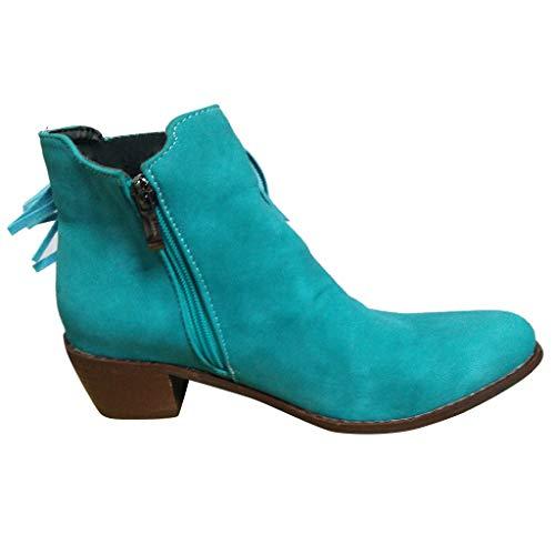 Stiefeletten Damen Vintage Stiefel mit Fransen und Reissverschluss, Frauen Ankle Boots Bequem Elegant Westernstiefel Herbst Winter Damenschuhe Celucke (Blau, 39 EU)