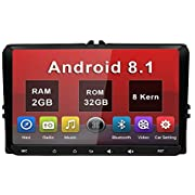 AWESAFE Autoradio 1-DIN 9 Zoll Android 8.1 Radio mit Navi für VW, Seat, Skoda, unterstützt CarPlay 4G WiFi Lenkradsteuerung